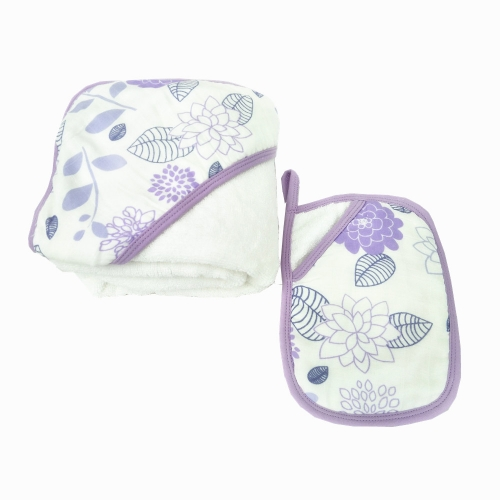 LAT Cotton Baby Hooded Bath Towel and Washcloth Set Shower Gift