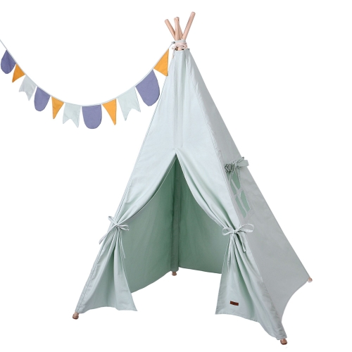 Kids Teepee Tent with Flags-Portable Play Tent for Kids Indoor & Outdoor-Playhouse for Girls/Boys Foldable Canvas Teepee Tent Toys